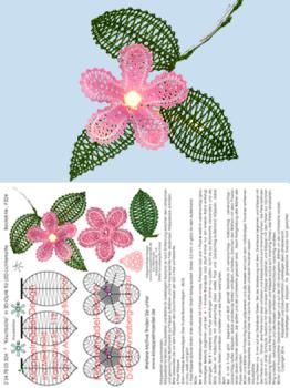 "324 Klöppelbrief  ""Kirschblüte"" in 3D-Optik"